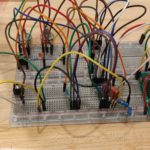 Circuit being bread-boarded before placed on stripboard