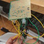 Backside of stripboard showing solder points