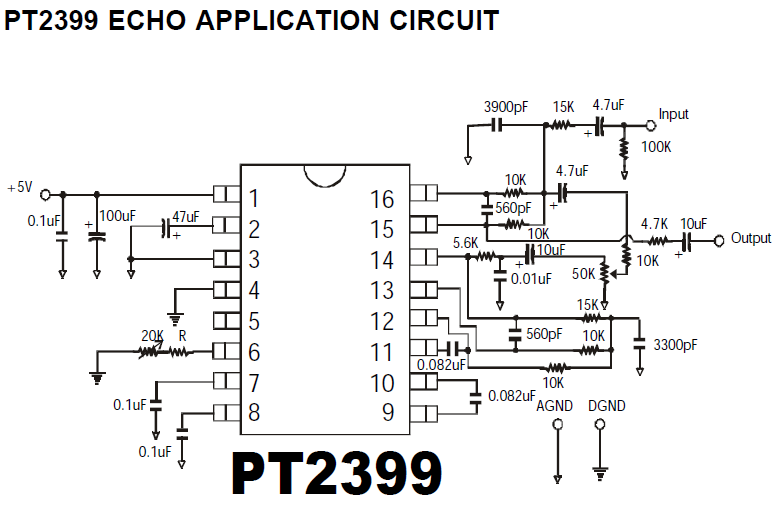 PT2399 Echo Application Circuit